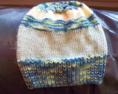 Hand knit knitted Malabrigo merino wool hat Hand dyed watch cap beanie chapeaux unisex blue yellow green large men women