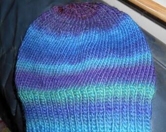 Hand knit knitted 100 % wool watch cap hat beanie classic POEMS yarn blue teal green plum purple grape medium large men women