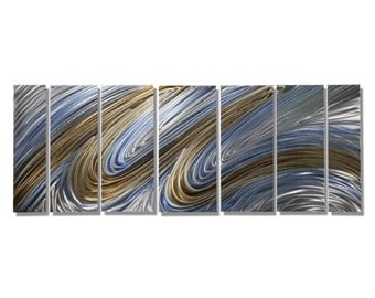 Zen Blue & Copper Abstract Metal Art - Large Swirl Contemporary Painting - Handpainted Modern Wall Accent - Heavenly Flight byJon Allen