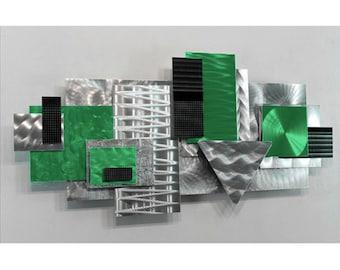 Silver & Green 3D Abstract Wall Sculpture - Geometric Modern Metal Art - Handmade Hanging Accent Decor - Green Focal Point by Jon Allen