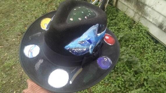 Pool shark Hand painted large felt hat