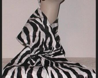 Zebra Faux Fur Scarf Black White Stripes Animal Print Neck Warmer Winter