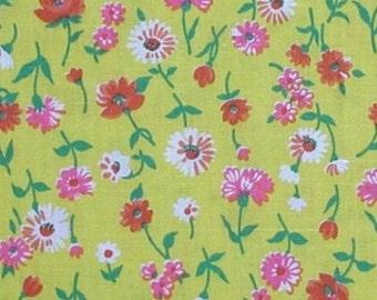 Yellow Fabric Orange Hot Dark Pink Vintage Green Floral Flowers Flower Cotton