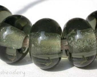 Lampwork Spacer Glass Beads 5 DARK STEEL GRAY Glossy & Matte Handmade Donut Rondelle Taneres sra grey