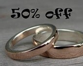 CLEARANCE - Affordable Wedding Band - Eco-Friendly Recycled 14k Rose Gold and Recycled Palladium Sterling Silver, size 8.75
