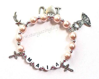 Multi Charm Bracelet YOU CHOOSE up to 5 charms, the pearl color, Personalized name Bracelet Little Girls jewelry Custom Name Bracelet