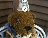 VERY Primitive, Altered, Teddy Bear, Brown Bear, Animal, Worn, Torn, Doll by Mustard Seed  HAFAIR