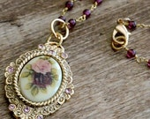 Vintage Repurposed Gold Pendant with Rose Cabochon and pale pink Rhinestones,  and handwrapped gold filled real amethyst chain Necklace