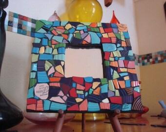 Mirror Wall Hanging Plaque Home Decor Mixed Media Mosaic Art Tile Broken PlateSolid Color Vintage Shards Tesserae