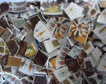 Mosaic Tiles Broken Plates Tesserae Art Supply Vintage Retro Brown 200 Vintage Orange Mix Set Atomic Dots