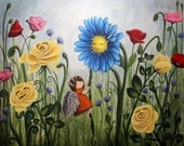 Pretty Weeds 8x10 Art Print - girl climbing blue daisy in rose garden - Art by Marcia Furman