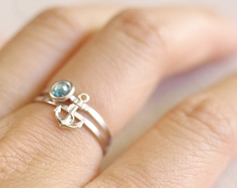 tiny anchor ring . anchor stacking ring . gold stackable anchor ring . silver anchor ring . anchor jewelry . nautical jewelry // 4AWAY
