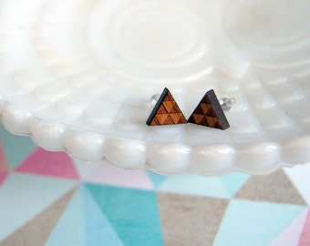 wooden laser cut triangle post earrings- triforce- geometric- bamboo