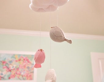 Pink and grey baby mobile, nursery decor. cloud mobile, bird mobile
