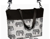 "Elephant Paisley 17 inch Laptop Tote Bag Womens Briefcase  Laptop Shoulder Bag 15.6""  pockets zipper black gray MTO"