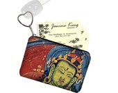 Business Card Holder in Boho Buddha, Fabric Pouch, Key Fob, Small Zipper Bag, Coin Purse, Key Chain, Asian, red, blue, green RTS