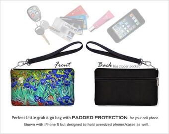 Van Gogh Irises  Wristlet Wallet, Clutch Purse Bridesmaid Gift, Large Cell Phone Case fits iPhone 6 / Plus, blue Iris orange green  RTS