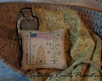 Primitive Glory Bee Pillow Tuck Cross Stitch E Pattern PDF New Pattern