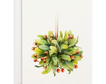 Set of 4 watercolor note cards - Xmas Cards, Holiday Cards, Mistletoe watercolor note cards