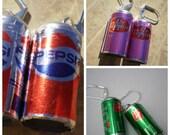 Soda Can Earrings- Pepsi or 7-Up