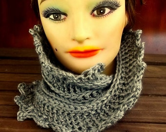 Gray Crochet Scarf Infinity,  Crochet Infinity Scarf,  Crochet Cowl Scarf,  Gray Scarf,  LAUREN Crochet Scarf,  Strawberry Couture