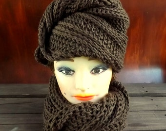 Oversized Scarf Wrap Head Wrap Headwrap, Turban Headwrap Head Wrap, Crochet Hat Chunky Hat, Deitra Brown Hat Brown Scarf
