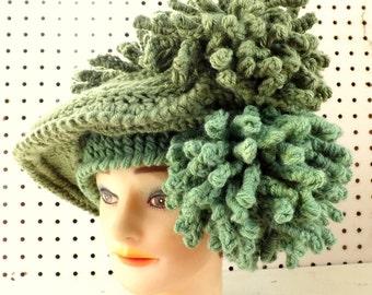 Kentucky Derby Hat, Winter Oversized Hat, Winter Womens Hats, Steampunk Couture, Chunky Crochet Hat, Sage Green Hat
