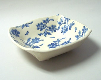 Ceramic Square Serving Bowl, Hand Built,  Lace Design, Footed