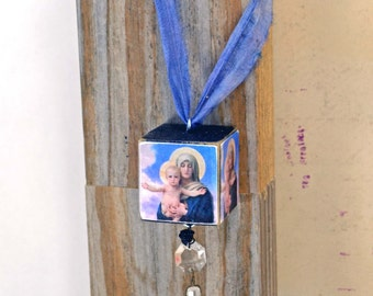 MIxed Media Block Ornament - Blessed Virgin Mary and Jesus