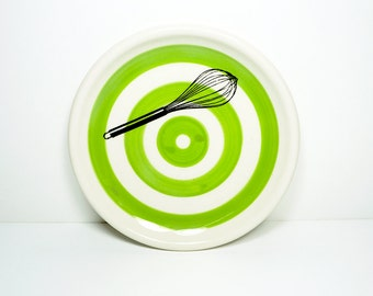 little plate whisk with wide stripes in Leaf Green, made to order / pick your colour