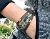 NEW Layered Leather Bracelet & Brass Beads, Succulents Digital Photo Print on 100% Genuine Leather, Stacking Cuff