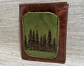 Leather Billfold Unisex Mens Wallet (Zipper Pocket) in Tree Silhouette Pattern / Hunter Green & Brown
