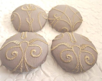 Lavender  buttons,  scroll buttons, fabric buttons, embroidered button, size 60 buttons, set of 4 buttons