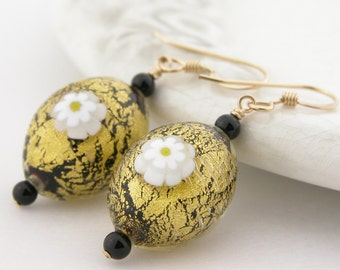 Black, 24k gold Venetian Murano glass, gold fill earrings with white daisy