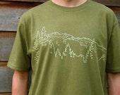 Mens Organic Cotton T Shirt - Mens Graphic Tee - Green T Shirt - Mountain Ridge TShirt - Organic Cotton Shirt - Japanese Screen Print Shirt
