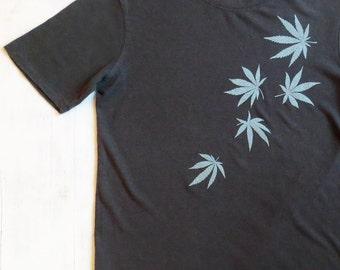 Mens Hemp T-shirt with Hemp Leaves - Gray / Grey - Screen Printed