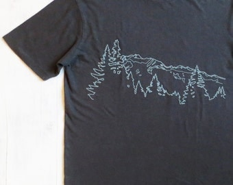 Mens Hemp Organic Cotton T shirt with Mountain Ridge - Screen Printed TShirt - Grey Hemp Tee
