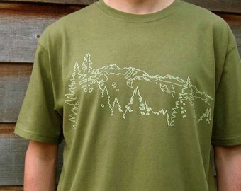 Mens Organic Cotton T Shirt - Mens Graphic Tee - Green T Shirt - Mountain Ridge TShirt - Organic Cotton Shirt - Japanese Screen Print Shirt