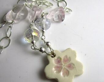 Floral Ceramic Star, Rose Quartz, Mystic Quartz and Sterling Silver Necklace
