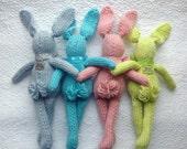 Knit Bunny Rabbit Toy NeWBoRN BaBY PHoTO PRoP Floppy Ear Bunny SHaBBY CHiC Kids Small STuFFeD ANiMaL Toddler SoFT ToY Silver Pink Aqua Lime