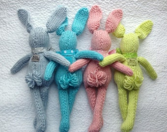 Knit Bunny Rabbit Toy NeWBoRN BaBY PHoTO PRoP Floppy Ear Bunny SHaBBY CHiC Kids Small STuFFeD ANiMaL Toddler SoFT ToY Silver Pink Aqua Lime
