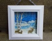 Deer Walking in Snow Beside Stream 3-D  Winter Scene Shadowbox Diorama  Assemblage Deer in Sparkling Snow