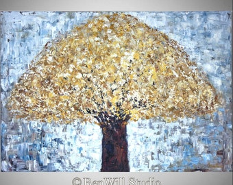 White Tree Painting ORIGINAL Contemporary Art in White Gold Abstract Tree Painting on Canvas 40x28 by BenWill