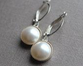 Swarovski Pearl Earrings - Sterling Silver - Leverback Earwires