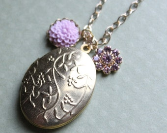 Brass Floral Locket with Flower and Swarovski - Gold Plated Chain - Purple