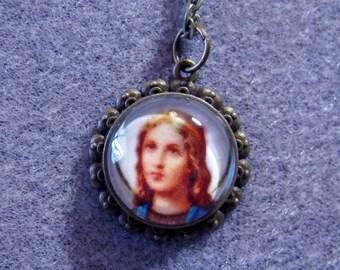 "St. Maria Goretti Catholic Glass Round Pendant Bronze Necklace 24"" MG1"