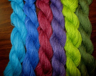 Suri Alpaca Lace Weight Handpainted Yarn ( Collective Glory) 6 skeins total 600 yards