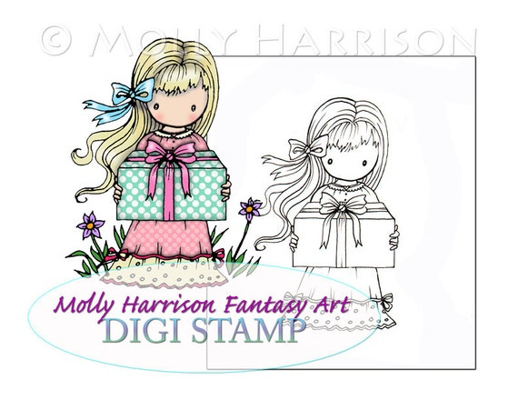 Little Birthday Girl - Digital Stamp - Printable  - Molly Harrison Fantasy Art - Digi Stamp Coloring Page - Instant Download