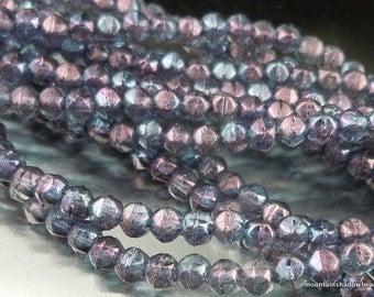 English Cut Beads - 3mm English Cut Nugget Bead Amethyst Luster 50