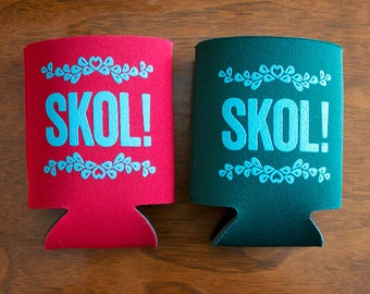 SKOL screen-printed can cooler-Green